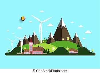 dombok, windmills, vektor, vidéki, castle., táj