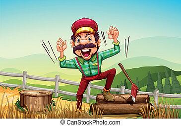 dombtető, woodman, boldog