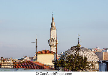 Dome and minaret of a mosque in Istanbul, Turkey