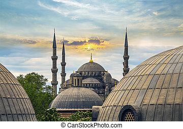 dome and minaret of Hagia Sophia Istanbul, Turkey