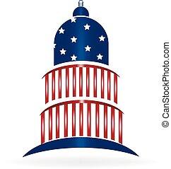 Dome cupola USA flag logo - Cupola USA flagged icon logo...