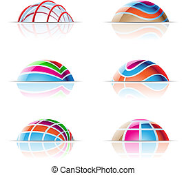 dome icons - vector illustration of colourful domes and...