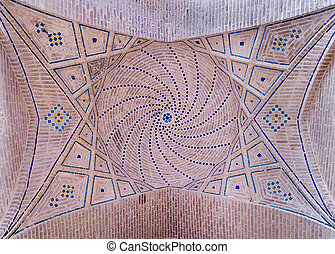 Dome of an ancient mosque, oriental ornaments from Shiraz, Iran