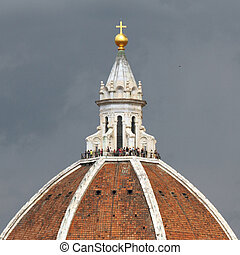 dome of cathedral in Florence isolated on sky, Italy