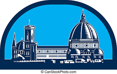 Dome of Florence Cathedral Retro Woodcut - Illustration of...