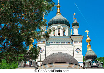 dome of Foros Church in Crimea Ukraine, view from below,...