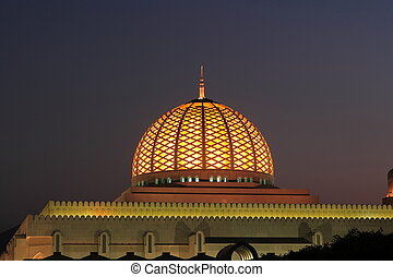 Dome of mosque at night in wonderful light
