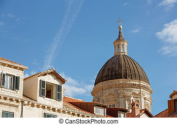 Dome of the Cathedral of the Assumption of the Virgin Mary in Dubrovnik, Croatia