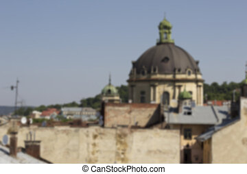 Dome of the Dominican Cathedral in Lviv. Blurring background.