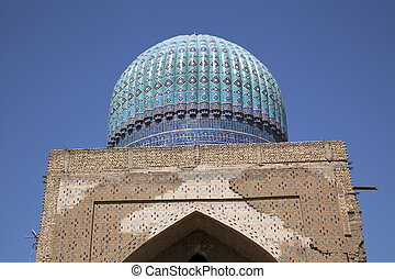 dome of the madrassa in uzbekistan
