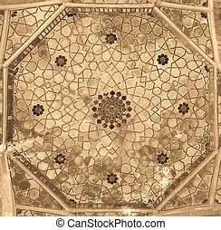 Dome of the mosque, oriental ornaments from Bukhara, Uzbekistan