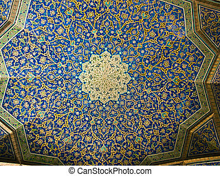Dome of the mosque, oriental ornaments from Sheikh Loft Allah Mosque in Isfahan, Iran