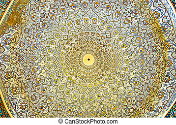 Dome of the mosque, oriental ornaments from Isfahan, Iran -...