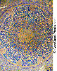 Dome of the mosque, oriental ornaments from Shah Mosque in Isfahan, Iran