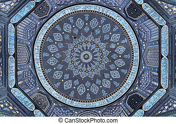 Dome of the mosque, oriental ornaments from Samarkand, Uzbekistan