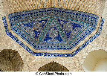 Dome of the mosque, oriental ornaments from Khiva, Uzbekistan