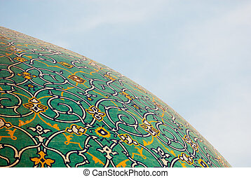 Dome of the mosque over blue sky, Isfahan, Iran