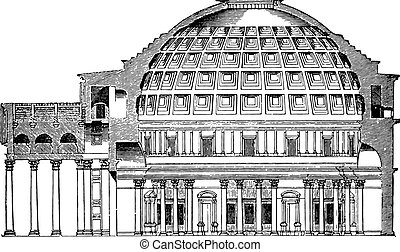 Dome of the Pantheon Cup in Rome, vintage engraving. - Dome...