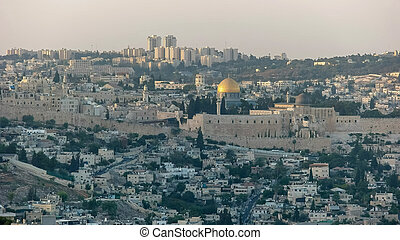 dome of the rock from haas promenade, jerusalem