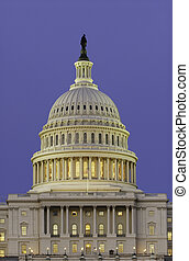 Dome of US Capitol at Dusk