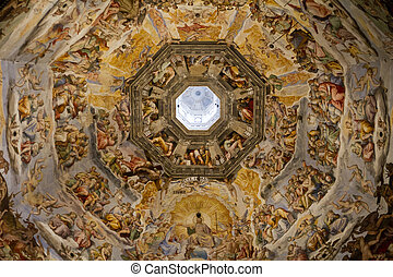 Dome Paintings Cathedral Florence - Duomo Cathedral in...