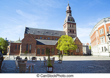 Dome Square without people in Riga. - Dome Square without ...