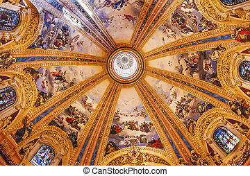 Dome Stained Glass San Francisco el Grande Royal Basilica Madrid Spain. Basilica designed in the second half of 1700s, completed by Francisco Sabatini.