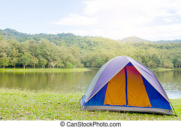 Dome tent camping at National Park, Thailand