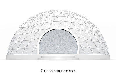 Dome tent - Empty exhibition / trade event tent against a...