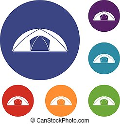 Dome tent for camping icons set
