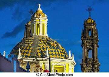 Dome Tower San Cristobal Church Templo de San Cristobal Historic Puebla Mexico.  Built in 1600 to 1700s