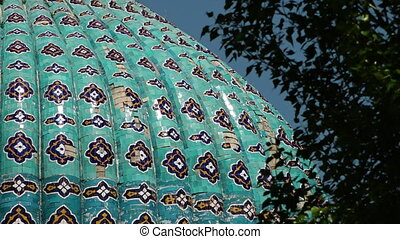 Dome with Tiled Decorations - Steady, low angle, exterior, ...