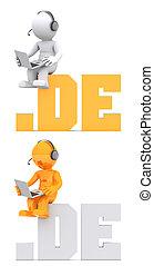 domein, zittende , .de, teken., karakter, 3d
