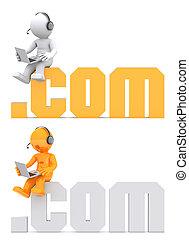 domein, zittende , teken., karakter, .com, 3d