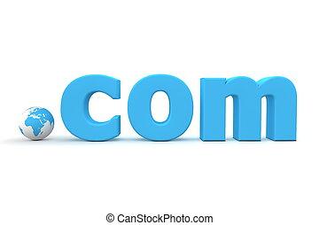 domena, -, top-level, świat, com, kropka