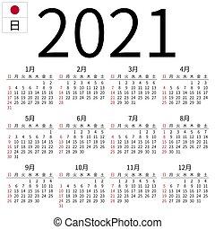 Giapponese, calendario, 2021, lunedì. Language., holidays
