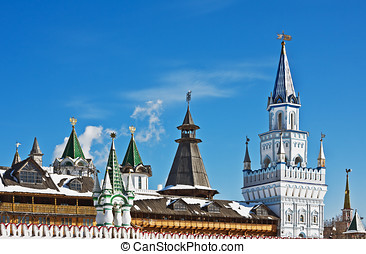 domes and towers of the Kremlin in Izmailovo in Moscow