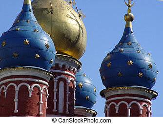 Domes in Old Moscow - Domes of a 15th century church in...