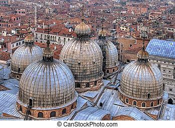 Domes in Venice. - Domes of basilica San Marco in Venice,...