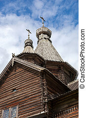 Domes of old wooden church