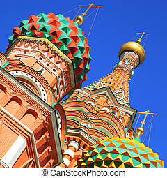 Domes of St. Basil's cathedral on the Red Square in Moscow, ...