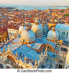 Domes of The Cathedral Basilica of Saint Mark in Venice