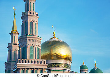 Domes of the Cathedral Mosque in Moscow against the blue sky
