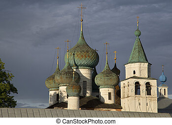 domes of the church against dramatic cloudy sky