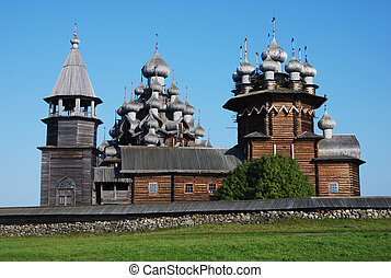 domes of the famous Church of the Transfiguration (Kizhi ensemble), the masterpiece of wooden architecture