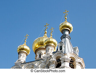 Domes of the Russian Orthodox Church of Saint Maria Magdalena in Jerusalem