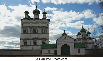 Domes with crosses of the Orthodox monastery