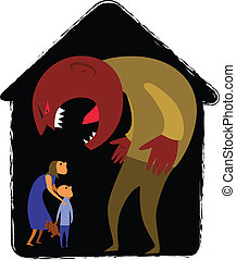 Monster man yelling at scared woman and child, vector illustration