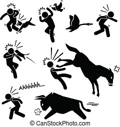 A set of human pictogram representing domestic animals (dog, bird, goose, cat, horse, and bull) attacking human.