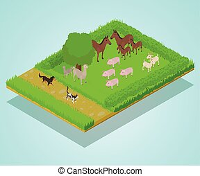 Domestic animal concept banner, isometric style - Domestic...